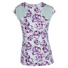 Womens Wimbledon Cap Sleeve Tennis Top Fleur de Monde by ELEVEN