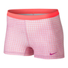 NIKE Women`s Slam Printed Tennis Short Fuchsia Glow and Hot Lava