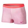 NIKE Women`s Slam Printed Tennis Short Fuchsia Glow and Hot Lava