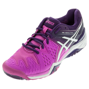 Women`s Gel-Resolution 6 Tennis Shoes Hot Pink and White