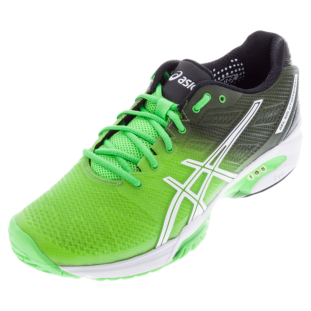 asics mens gel sol spd 2 tns shoes fl gn blk