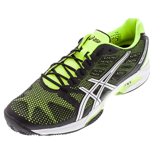 Men`s Gel-Solution Speed 2 Clay Court Tennis Shoes Onyx and Flash Yellow