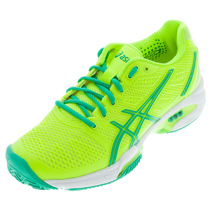 Women`s Gel-Solution Speed 2 Clay Court Tennis Shoes Flash Yellow and Mint