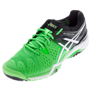 Men`s Gel-Resolution 6 Tennis Shoes Flash Green and Black