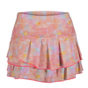 LUCKY IN LOVE Women`s Color Wave Pleated Tier Tennis Skort Print