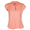 LUCKY IN LOVE Women`s Placket Cap Sleeve Tennis Top Peach