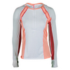 LUCKY IN LOVE Women`s Long Sleeve Tennis Zip Crew White and Peach