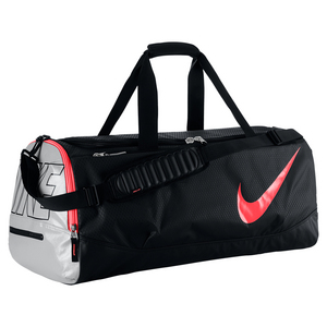 Tennis Court Tech Duffle Bag Black and Hot Lava