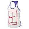 NIKE Women`s Court French Stripe Tennis Tank White and Blue Legend