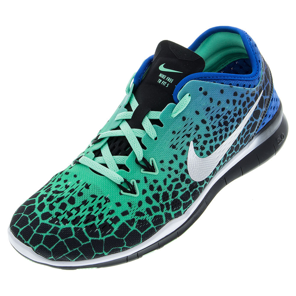 Women's Free 5.0 Tr Fit Print Training Shoes Black And Blue