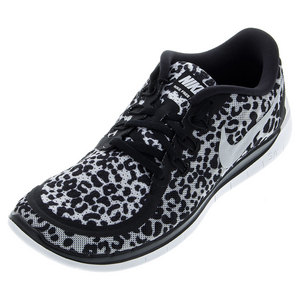NIKE JUNIORS FREE 5.0 PRINT RUN SHOES BK/WH