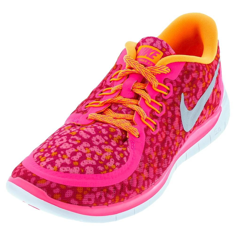 Juniors ` Free 5.0 Print Running Shoes Pink Pow And Bright Citrus