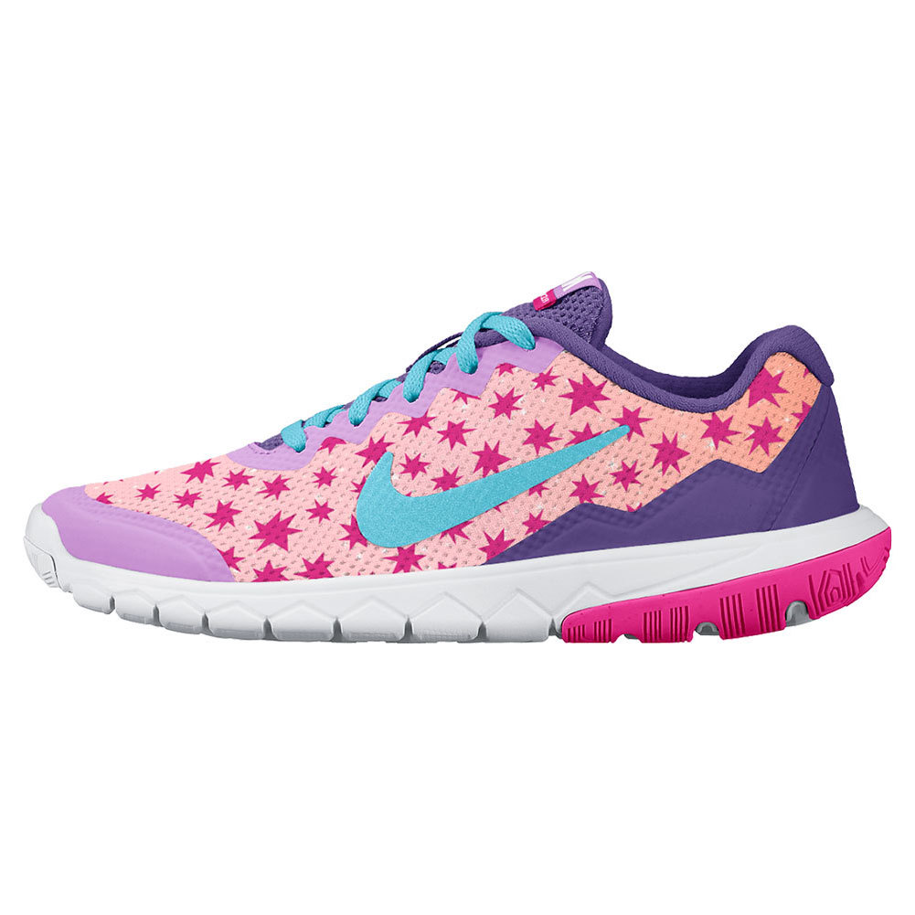 Juniors ` Flex Experience 4 Print Run Shoes Prism Pink And Fuchsia Glow