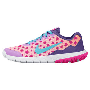 Juniors` Flex Experience 4 Print Run Shoes Prism Pink and Fuchsia Glow