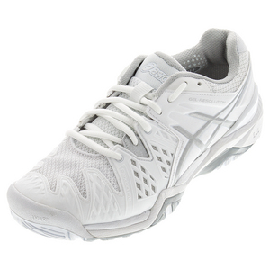 Women`s Gel-Resolution 6 Wide Tennis Shoes White and Silver