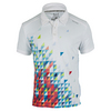 Men`s Flame Geo Performance Tennis Polo Bright White by SOLFIRE