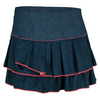 LUCKY IN LOVE Women`s Jean-etics Pleated Tier Tennis Skort Denim
