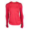 LUCKY IN LOVE Women`s Long Sleeve Athletic Tennis Crew Coral Crush