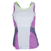 LUCKY IN LOVE Women`s Hybrid High Neck Tennis Cami White and Orchid