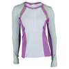 LUCKY IN LOVE Women`s Long Sleeve Zip Tennis Crew White and Orchid