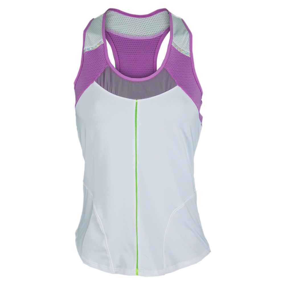 Women`s Racerback Tennis Tank White and Orchid