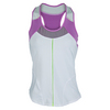 LUCKY IN LOVE Women`s Racerback Tennis Tank White and Orchid