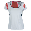 LUCKY IN LOVE Women`s Scoop Neck Tennis Cap Sleeve White