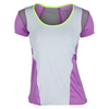 LUCKY IN LOVE Women`s Scoop Neck Tennis Cap Sleeve White and Orchid
