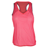 LUCKY IN LOVE Women`s Gridlock V-Neck Mesh Layer Tank Coral Crush