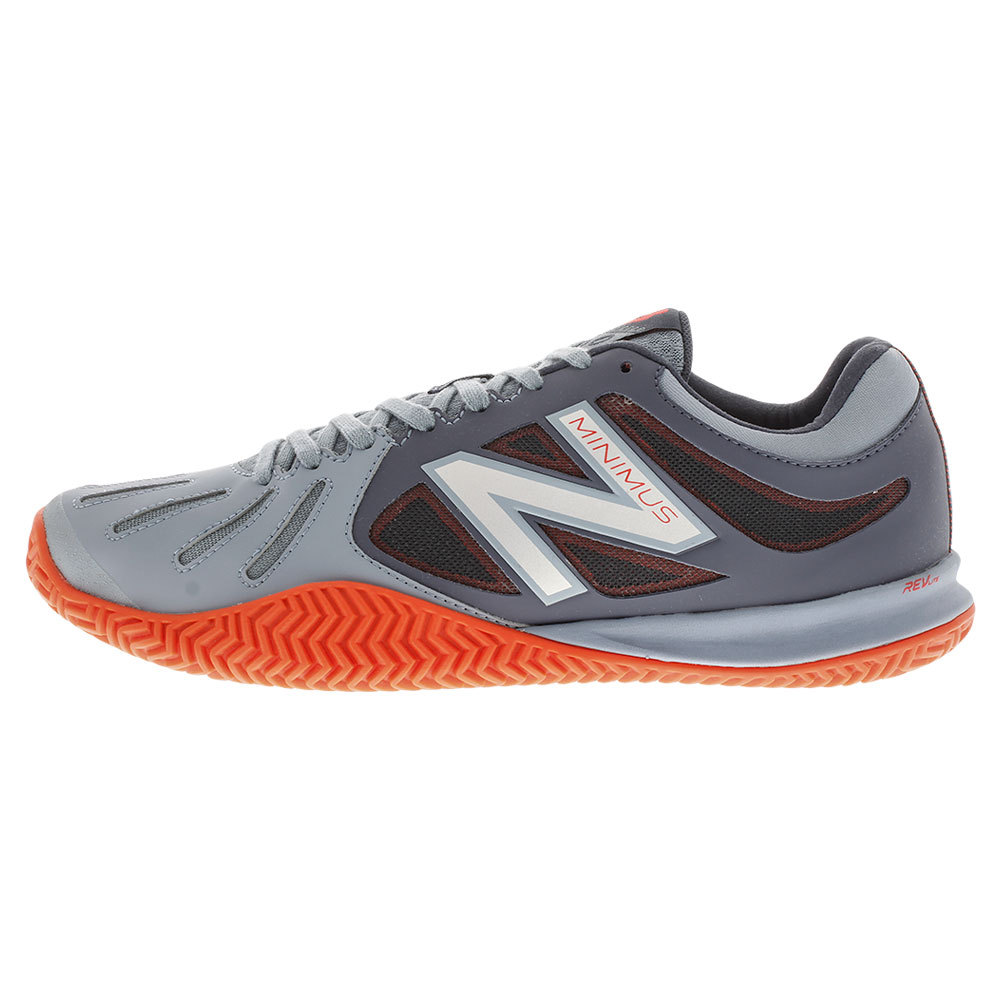 Men's 60v1 D Width Clay Tennis Shoes Gray And Orange