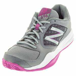 Women`s 696v2 B Width Tennis Shoes Gray and Purple