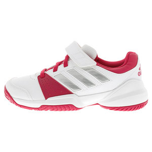 Juniors` Court EL Tennis Shoes White and Bold Pink