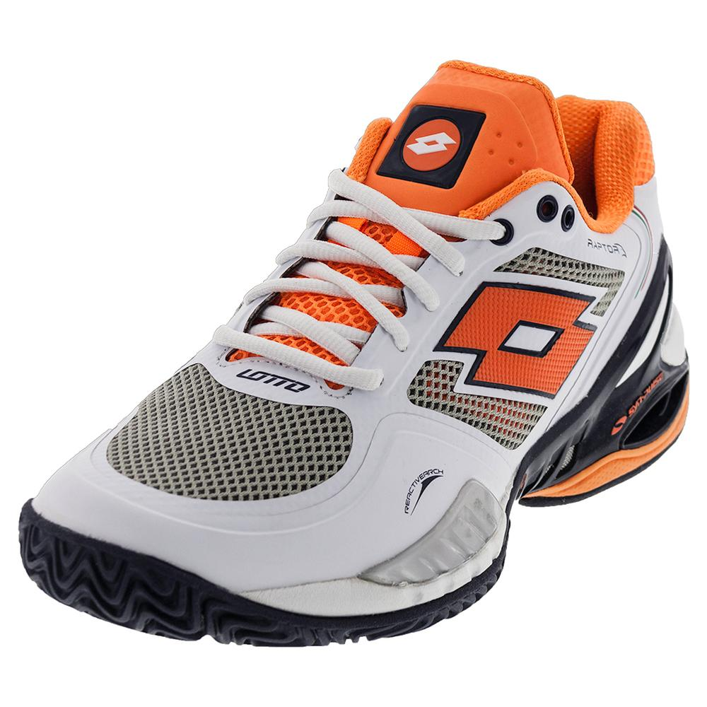 Men's Raptor Evo Clay Tennis Shoes White And Fanta Fluo