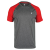 K-SWISS Men`s Hypercourt Tennis Tee Marl Gray and Fiery Red