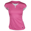 K-SWISS Women`s 66 Cap Sleeve Tennis Top Shocking Pink and White