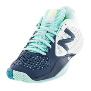 Women`s 996v2 B Width Tennis Shoes Sea Glass and Deep Water