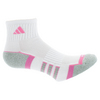ADIDAS Women`s Climalite II Quarter Tennis Socks 2 Pack White and Mono Pink