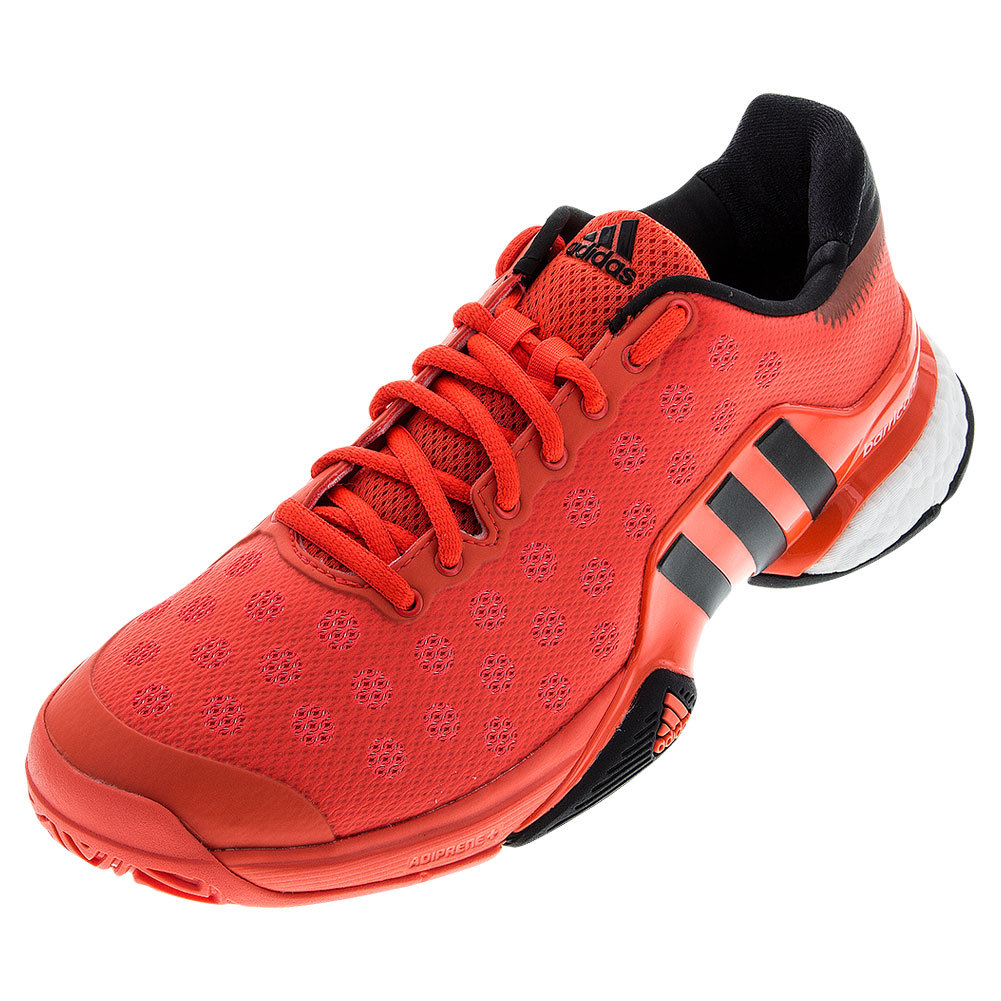 Men's Barricade 2015 Boost Tennis Shoes Solar Red And Black