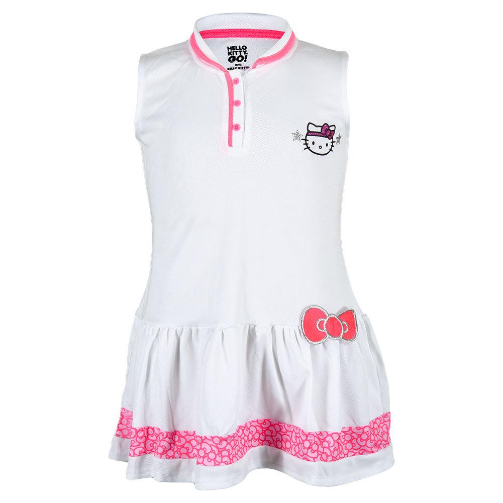 Girls ` Collared Tennis Dress White