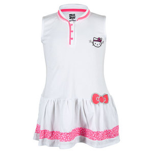 Girls` Collared Tennis Dress White