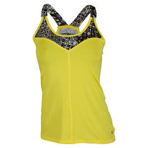 Women`s V for Victory Tennis Tank Lemon and Print
