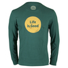 LIFE IS GOOD Men`s Long Sleeve Dot Logo Tee Hunter Green