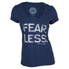 LIFE IS GOOD Women`s Fear Less V-Neck Top Darkest Blue