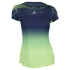 ADIDAS Women`s Adizero Tennis Tee Frozen Yellow and Midnight Indigo