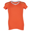 LUCKY IN LOVE Girls` V-Neck Cap Sleeve Tennis Top Orange Glow