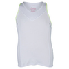 Girls` V-Neck Racerback Tennis Tank 110_WHITE