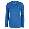 ADIDAS Women`s Climacool Aeroknit Long Sleeve Tennis Tee Bold Blue Heather
