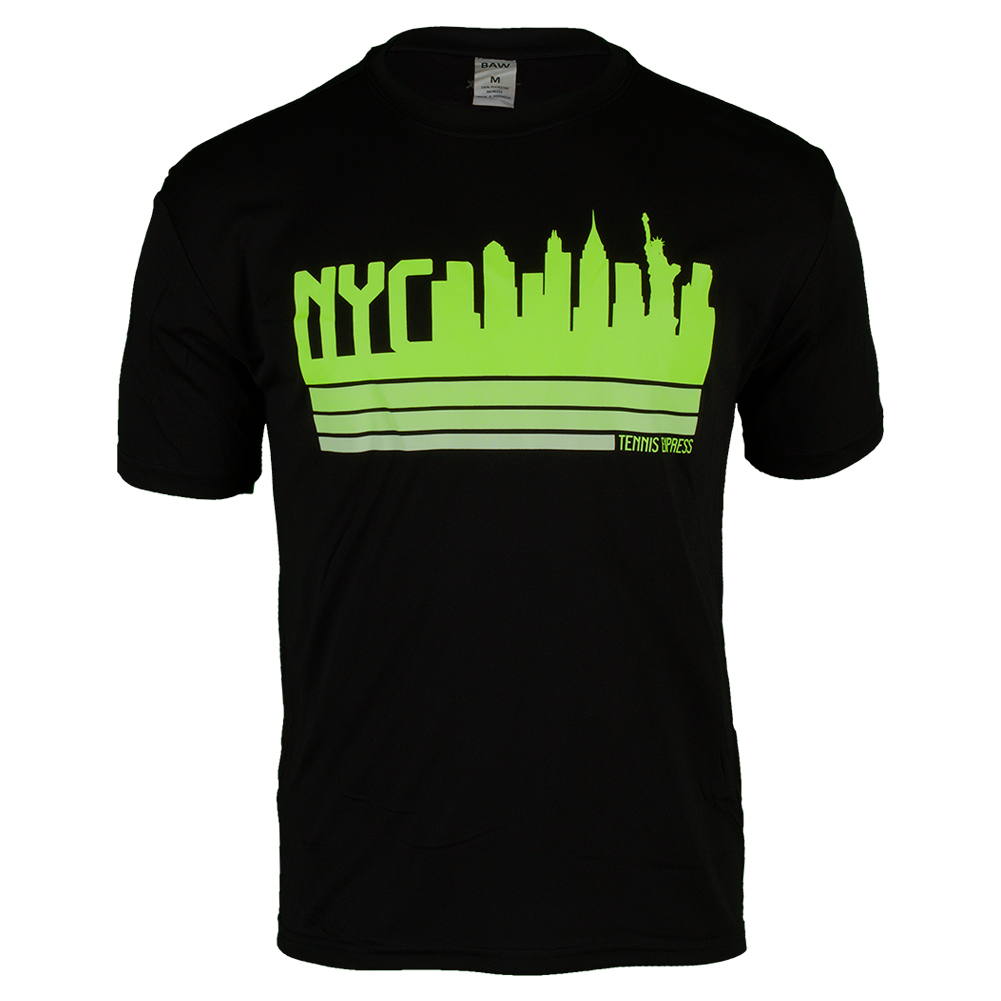 Nyc Volt Skyline Performance Tennis Tee In Black