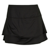 LUCKY IN LOVE Women`s Kick Back Tier Tennis Skort Black