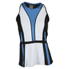 LUCKY IN LOVE Women`s Colorblock Peplum Tennis Tank Azure and Black